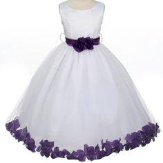 Flower Girl Dresses - Lilac/Lavandar Flower Girl Dress - MB152 - White Satin and Purple Rose Petal Dress
