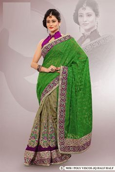 Green Polyester Viscos Embroidered Saree With Blouse
