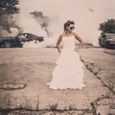 One of my favorite images from this #wedding season. Who has the better burnout the left or the right? #ford #mustang #burnout #weddingphotography #bride #dress #ashland #ohio #tjshots #pporocks