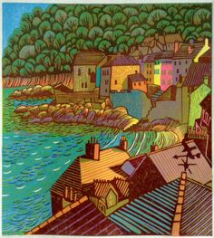 Kingsand, Cornwall. Multi block Linocut. Copyright Eric Gaskell