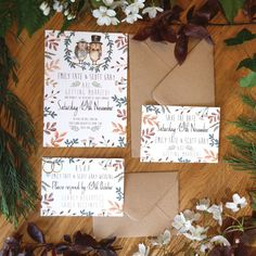 Brown and orange fall and autumn inspired watercolour little owls stationery set from Top Table Design. The delicate watercolour and rich browns and greens in the leaves and twigs give this invite a really rustic but charming feel.