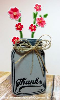 Jar of Love place card. Perfect for a fall dinner. Mason Jar Cards, Mason Jars, Fall Dinner, Treat Holder, Love Cards, Tree Branches, Stampin Up Cards, Art Pieces, Scrap