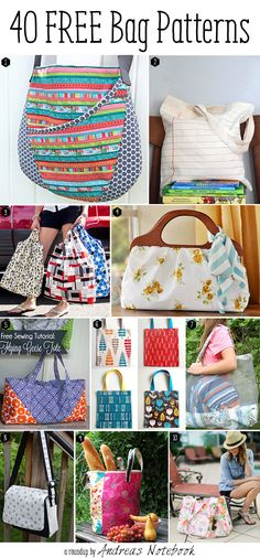 40 free bag pattern tutorials - some really cute bags - all with instructions. // Wanna make the paper looking one - leather purse for ladies, purses for sale online, small handbags online *ad Sewing Tutorials, Sewing Hacks, Sewing Crafts, Sewing Projects, Bag Tutorials, Quilting Projects, Purse Patterns, Sewing Patterns, Sacs Tote Bags