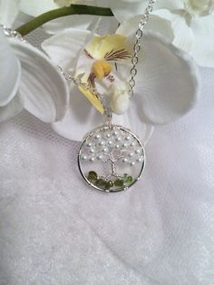 Petite Tree Of Life Necklace Pearl and Peridot by Just4FunDesign, $28.00