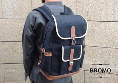 I tryed some denim and leather combi, first on this flap closure backpack