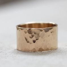 Extra Wide solid gold hammered wedding ring - praxis jewelry