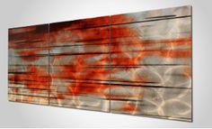 """$390 'Interlude' (33% Off!) A daring metal wall sculpture with high-intensity coloring and horizontal streaks that appear to be in motion. It is a spectacular wall sculpture featuring a subtle swirl grind pattern on the surface of the metal, with shades of bold and dark reds on a silver metal canvas. This sculpture is the epitome of the """"Wow-Factor"""" and will steal the attention in your home or office. 60""""W x 24""""H x 1""""D. #Interlude #NicholasYust #Artist #Modern #Signature #MetalArt"""