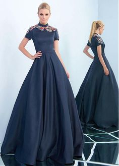 Buy discount Delicate Satin High Collar Neckline Short Sleeves A-line Evening Dress With Beadings & Belt at Magbridal.com