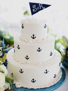 nautical wedding shower cake with anchors Nautical Wedding Cakes, Nautical Cake, Nautical Party, Nautical Anchor, Nautical Design, Navy Party, Seaside Wedding, Nautical Baby Shower Cakes, Anchor Wedding Decorations