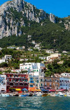 View from the sea of Marina Grande harbour, Capri island, Campania, Italy
