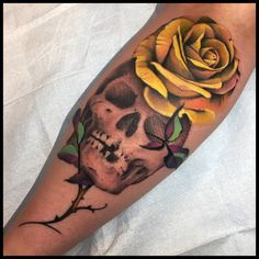 A gorgeous skull and rose piece by our friend Nick Chaboya!