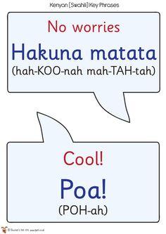 Swahili Speech Bubbles - hakuna matata (no worries) Poa (cool)! Kenya Travel, Africa Travel, Primary Classroom, School Classroom, African Art Projects, World Thinking Day, Teachers Pet, Learn English, English Study