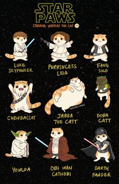 STAR PAWS starring Waffles the cat,  featuring Luke Skypawker, Purrincess Leia, Fang Solo, Chewbaccat, Jabba The Catt, Boba Catt, Yowlda, Obi Wan Catnobi and Darth Pawder, art by derlaine @ tumblr,~ Print available here: http://waffles_the_cat.storenvy.com/collections/285825-all-products/products/9405610-star-paws