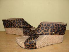 Lucky Brand Womens Sz 8M Brown Black Animal Print X-strap Wedge Sandals Platform #LuckyBrand #PlatformsWedges #Casual
