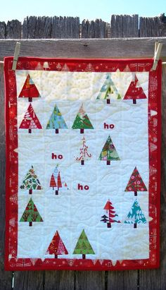 Ho Ho Ho Christmas Trees Quilt Holiday Table Runner Wall Hanging