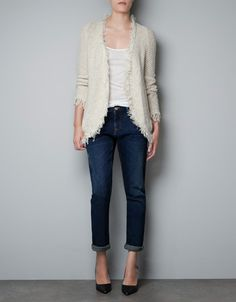 KNITTED CARDIGAN WITH FRINGE EDGING - Special prices - Woman - ZARA United States