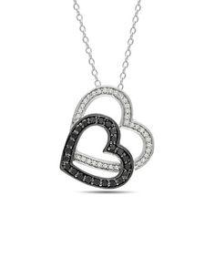 Black & White Diamond Double Heart Necklace