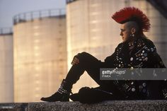 Portrait of Matt Belgrano, a punk rocker who found fame as a postcard punk due to his long mohican hair. circa Get premium, high resolution news photos at Getty Images 1980s, British, Punk, Stock Photos, Portrait, Hair Styles, Vectors, Model, Movie Posters