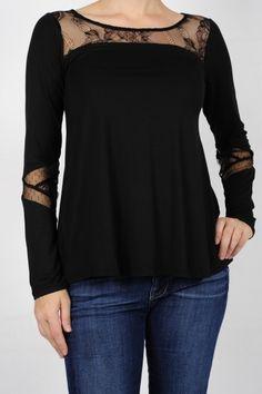 Mystree - Black Jersey Lace Tunic