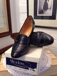 Vintage-Navy-two-toned-Leather-uppers-by-Meadows-in-Original-Box....UP FOR AUCTION on...http://stores.ebay.co.uk/Karens-Vintage-Point