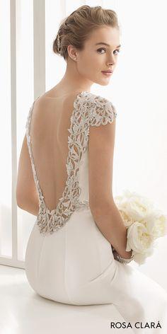 Rosa Clará 2017 Bridal Collection: embellished cap sleeves bateau neck simple clean elegant sheath wedding dress open low back chapel train (naira) mv bv --  #wedding #bridal #weddingdress