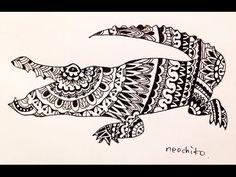 ゼンタングル ワニ zentangle The crocodile - YouTube