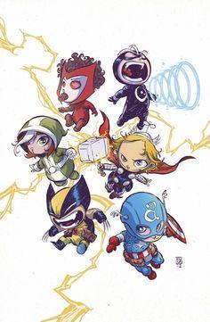 Simpatiquisima portada alternativa de Uncanny Avengers #1 por Skottie Young
