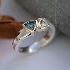 Aquamarine White Topaz silver and gold ring