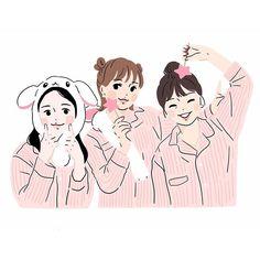 Cute Illustration, Character Illustration, Girl Cartoon, Cartoon Art, Friends Sketch, Chemistry Art, Korean Best Friends, Best Friend Drawings, Cute Cartoon Characters