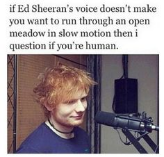 If Ed Sheeran's voice doesn't make you want to run through an open meadow in slow motion then I question if you're human....
