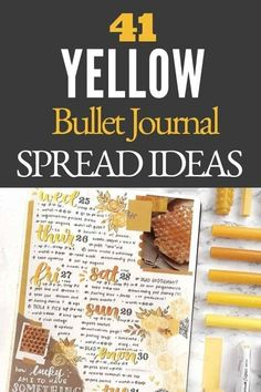 Yellow bullet journal inspiration that will brighten your days! Since I was a kid, I have always associated yellow with happiness. It is one of my favorite colors to add to my bullet journal since just looking at it can brighten my mood. Click to read more. Bullet Journal Headers And Banners, Monthly Bullet Journal Layout, Bullet Journal Mood Tracker Ideas, Bullet Journal Printables, Bullet Journal Themes, Bullet Journal Inspiration, Journal Ideas, Bullet Journal Gifts, Bullet Journal For Beginners