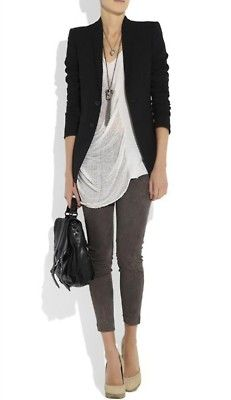 yep bringing out the grey jeans again...Recreate this casual look with the Fall Moto Jeggings , the white Edge Tee and the black ponte Moto Jacket from CAbi