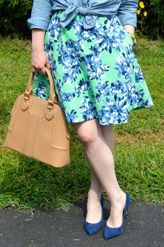 Pairing Chambray Over Floral Dress...