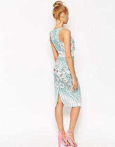 ASOS   ASOS Placed Floral Crop Top Pencil Dress