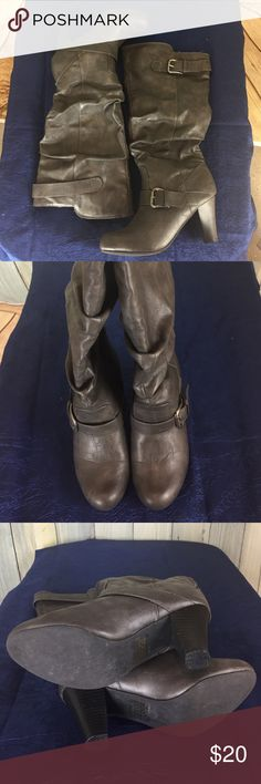 Madden Girl Gray Heeled Boots with Buckles Gray Heeled boots with buckles.  No visible signs of wear but does have small pin holes on each boot in the same place.  Looks to be made when seeing the boot.  Not noticeable when wearing.  Please see pictures. Madden Girl Shoes Heeled Boots