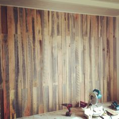 Recycled timber feature wall in our new home. Timber Feature Wall, Feature Walls, Woodworking Plans, Woodworking Projects, Wooden Panelling, Timber Walls, Pallet Walls, Cafe Design, Pallet Ideas