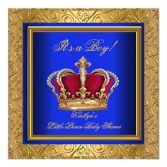 Royal Blue Damask Gold Baby Shower Boy Regal Personalized Invitation by Zizzago.com