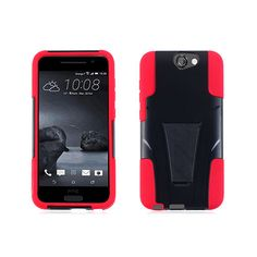 HTC aero/One A9 fusion case-black PC+Red skin/stand
