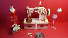 Alhajero con maquinita de coser antigua elaborada totalmente a mano en cardstock