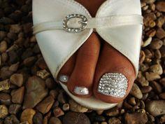 48 Trendy wedding nails for bride bling swarovski crystals Wedding Toes, Wedding Pedicure, Wedding Nails For Bride, Bride Nails, Sparkle Wedding, Wedding Attire, Wedding Hair, Mani Pedi, Manicure And Pedicure