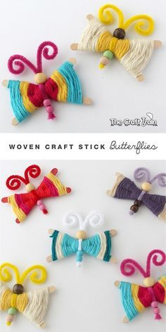 Fun and Easy Crafts for Kids: Woven Craft Stick Butterflies DIY for activities to do when bored or on rainy days. # yarn crafts for kids Woven Craft Stick Butterflies Popsicle Stick Crafts, Craft Stick Crafts, Diy Crafts For Kids, Art For Kids, Craft Sticks, Yarn Crafts Kids, Popsicle Sticks, God's Eye Craft, Kids Diy