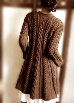 Handknitted Cabled A Line coat in pure wool Chocolate brown by Pilland  $290