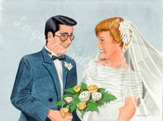 Acuarela regalo de boda personalizado, se aceptan pedidos