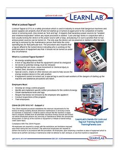 LOTO (Lockout-tagout) workplace training poster.