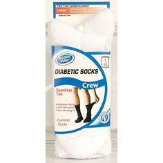 Premier Value Seamless Toe Diabetic Crew Socks- White Lg - 2pk diabetes <3 This is an Amazon Associate's Pin. Click the VISIT button to find out more from the website