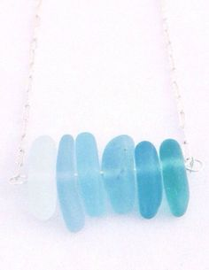 Pacific Blue Sea Glass Necklace by ThisTinyOcean on Etsy