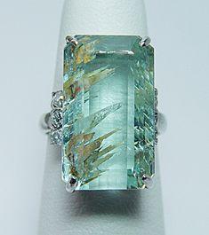 RARE 23ct Rutile Aquamarine Diamond Platinum Ring 11 8gr Heavy Estate Jewelry | eBay