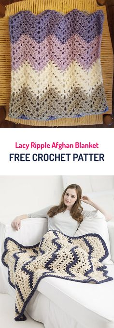 Lacy Ripple Afghan Blanket Free Crochet Pattern #crochet #homedecor #crafts #yarn #style