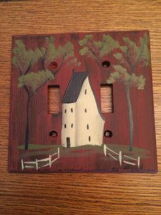 Double Primitive Light Switch Cover by HandPaintedByMara on Etsy https://www.etsy.com/listing/265538377/double-primitive-light-switch-cover