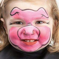 Simple and cute pig face painting . - Simple and cute pig face painting - Face Painting Designs, Paint Designs, Body Painting, Simple Face Painting, Face Painting Tutorials, Animal Face Paintings, Animal Faces, Kids Makeup, Face Makeup